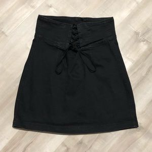 Express Lace Up Black Denim Jean Stretch Skirt